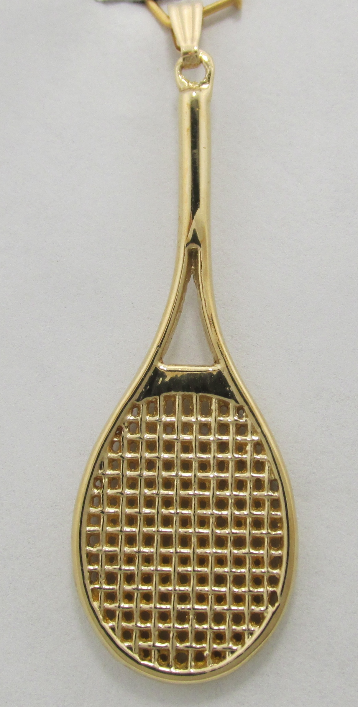 14k solid yellow gold tennis racquet pendant 392 grams gold tennis racquet mozeypictures Gallery