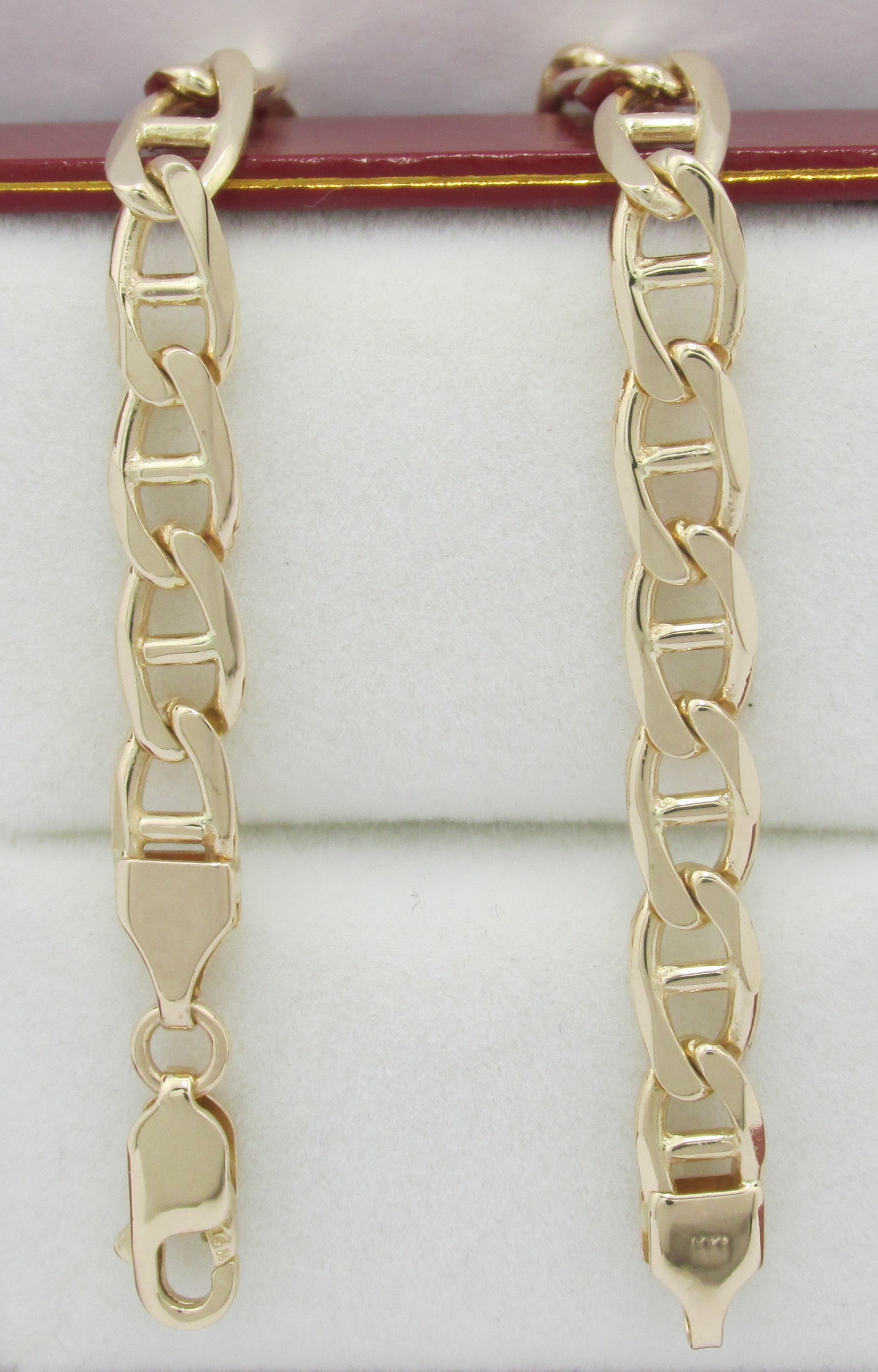 01bd9cfe70884 14K Gold Anchor/Marine Chain Link Bracelet w/ Lobster Claw Clasp