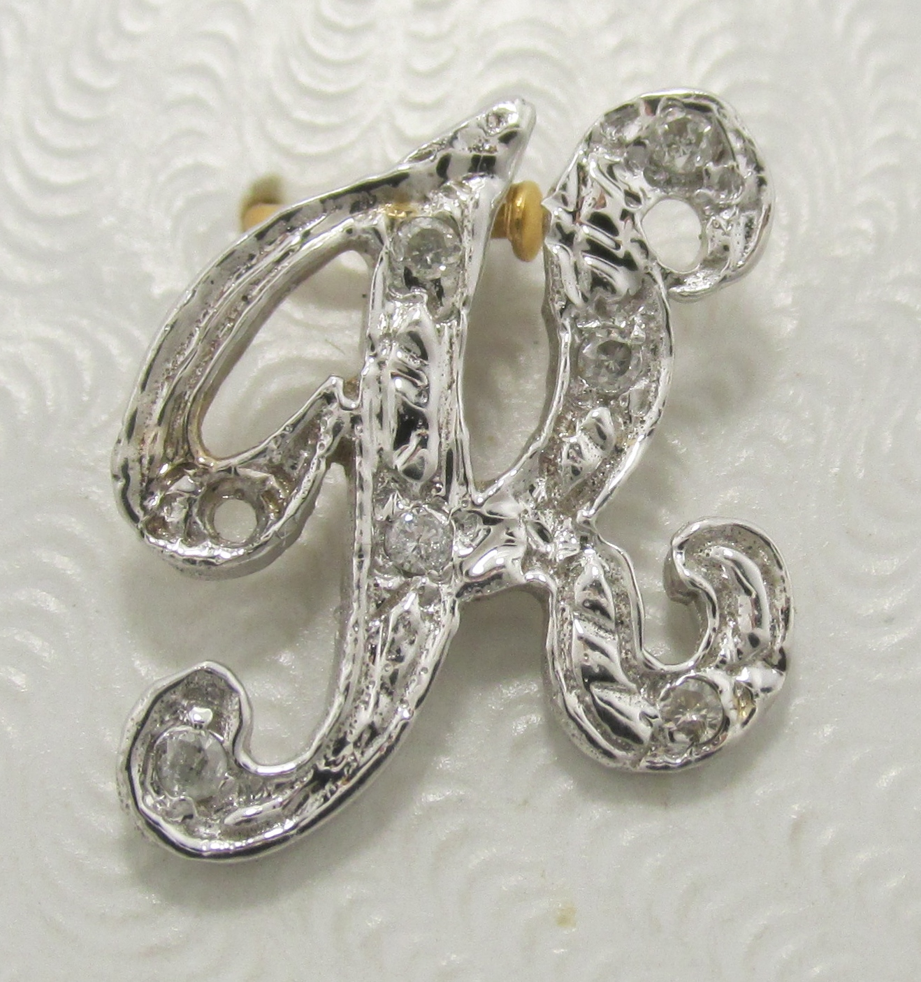 14k White Gold D...K Letter In Diamond