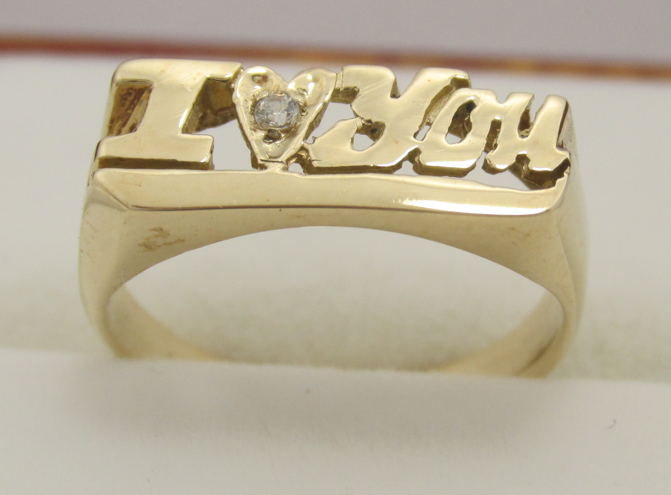14k Solid Yellow Gold I Love You W Diamond Ring Exquisite Designs Inc